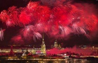 Салют в честь Дня Победы 2014 Санкт-Петербург